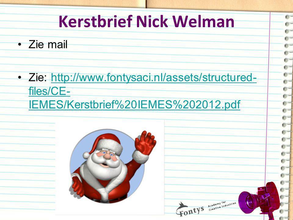 Kerstbrief Nick Welman