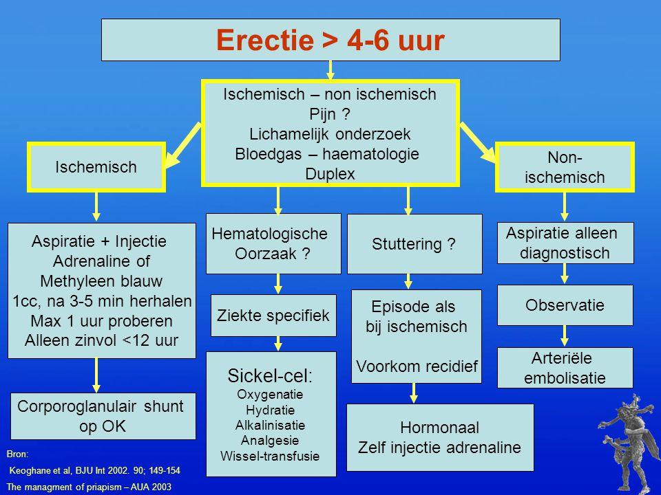 Erectie > 4-6 uur Sickel-cel: Ischemisch – non ischemisch Pijn