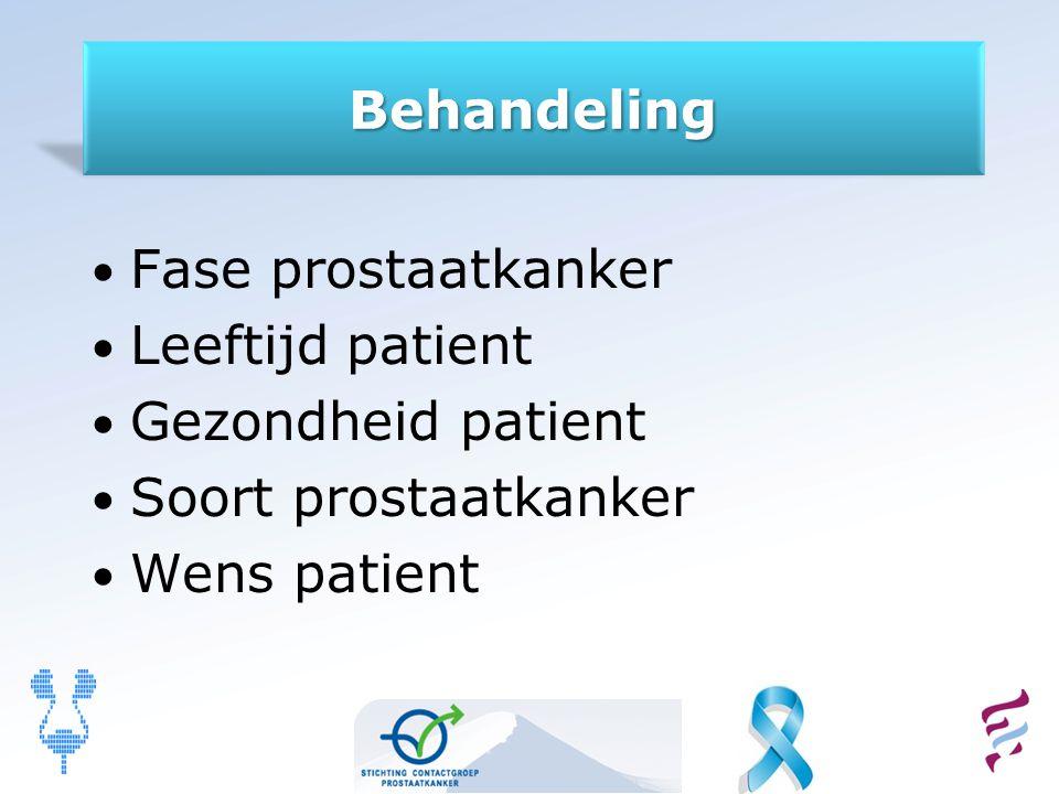 Behandeling Fase prostaatkanker. Leeftijd patient.