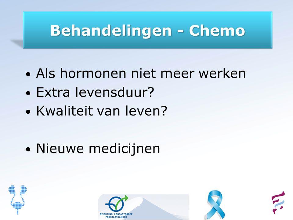 Behandelingen - Chemo Als hormonen niet meer werken Extra levensduur