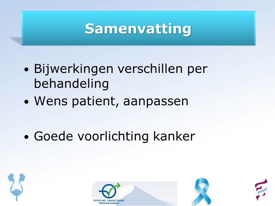 Samenvatting Bijwerkingen verschillen per behandeling