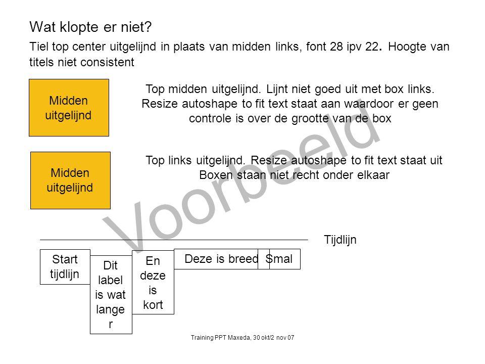 Wat klopte er niet Tiel top center uitgelijnd in plaats van midden links, font 28 ipv 22. Hoogte van titels niet consistent
