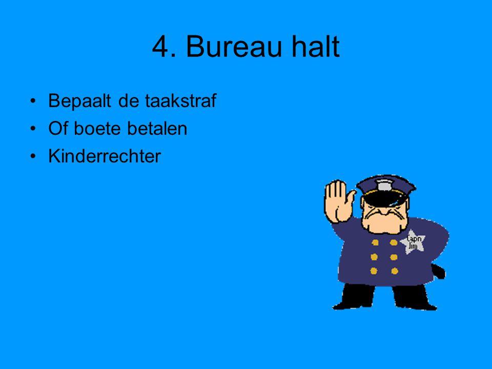4. Bureau halt Bepaalt de taakstraf Of boete betalen Kinderrechter