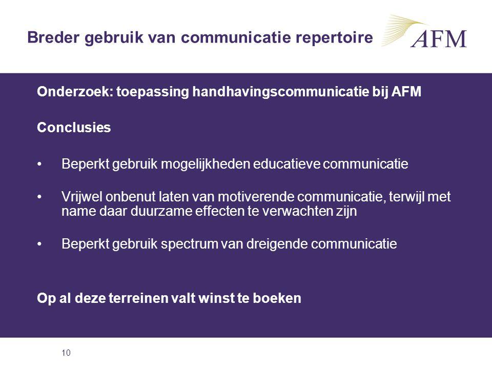 Breder gebruik van communicatie repertoire