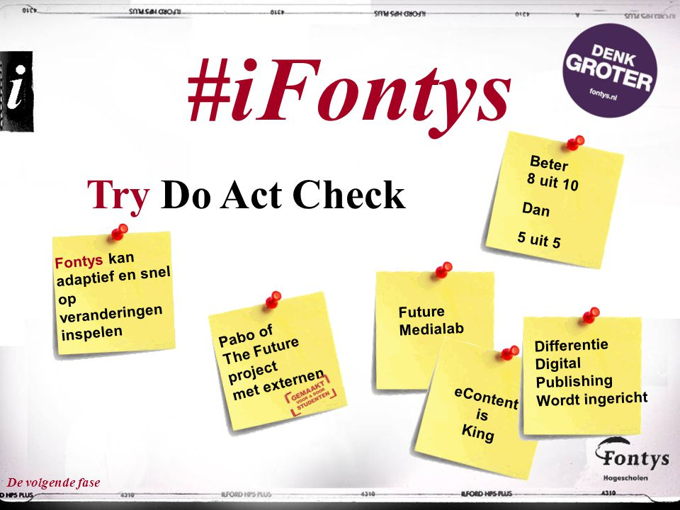 #iFontys Try Do Act Check Beter 8 uit 10 Dan 5 uit 5