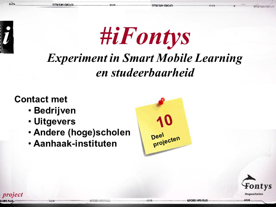 #iFontys Experiment in Smart Mobile Learning en studeerbaarheid