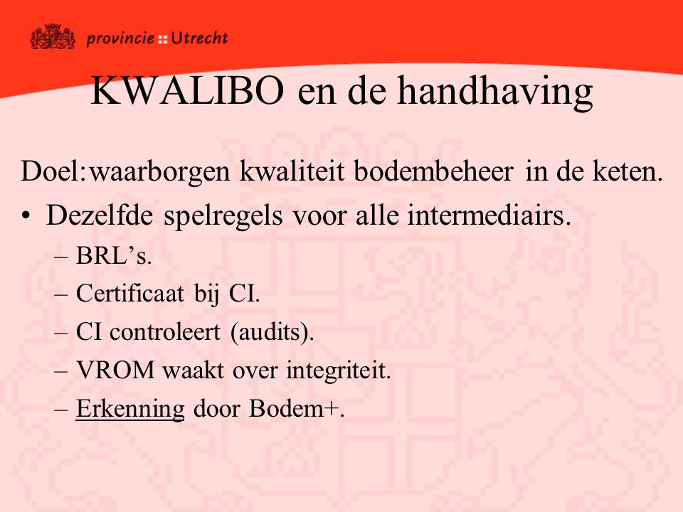 KWALIBO en de handhaving