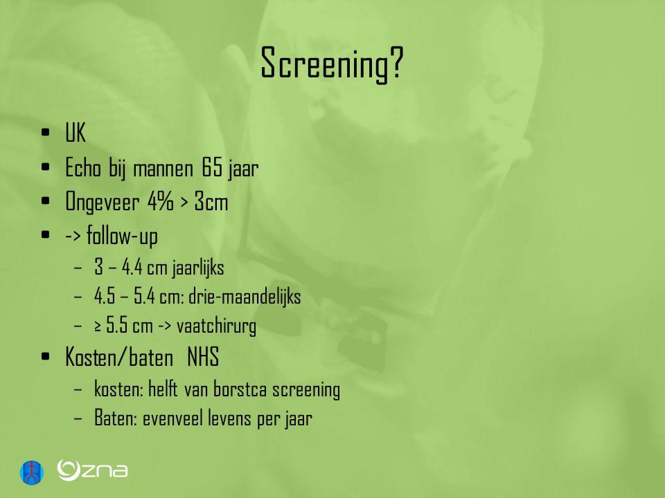 Screening UK Echo bij mannen 65 jaar Ongeveer 4% > 3cm