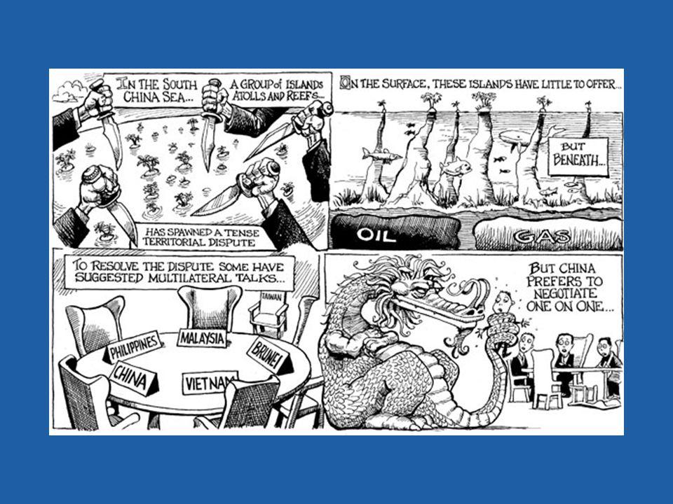 Aardige cartoon waarbij de strijd om de eilanden, atollen, riffen en zandbanken raak wordt getypeerd.