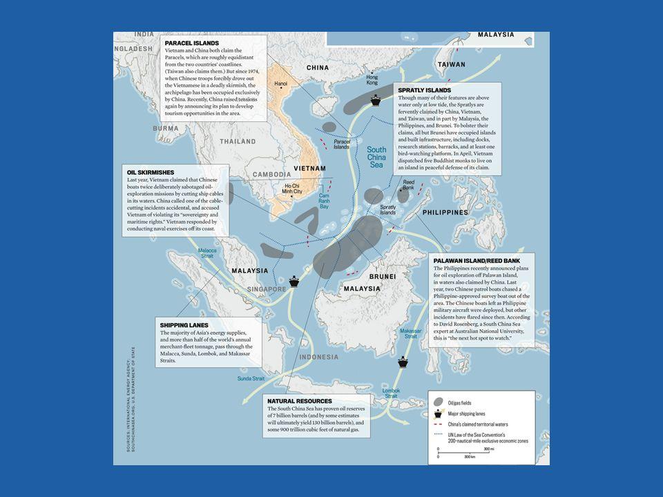 Deze dia is vooral bedoeld als samenvatting: waar liggen de olievelden, waar liggen de betwiste eilandengroepen, waar liggen de scheepvaartroutes.