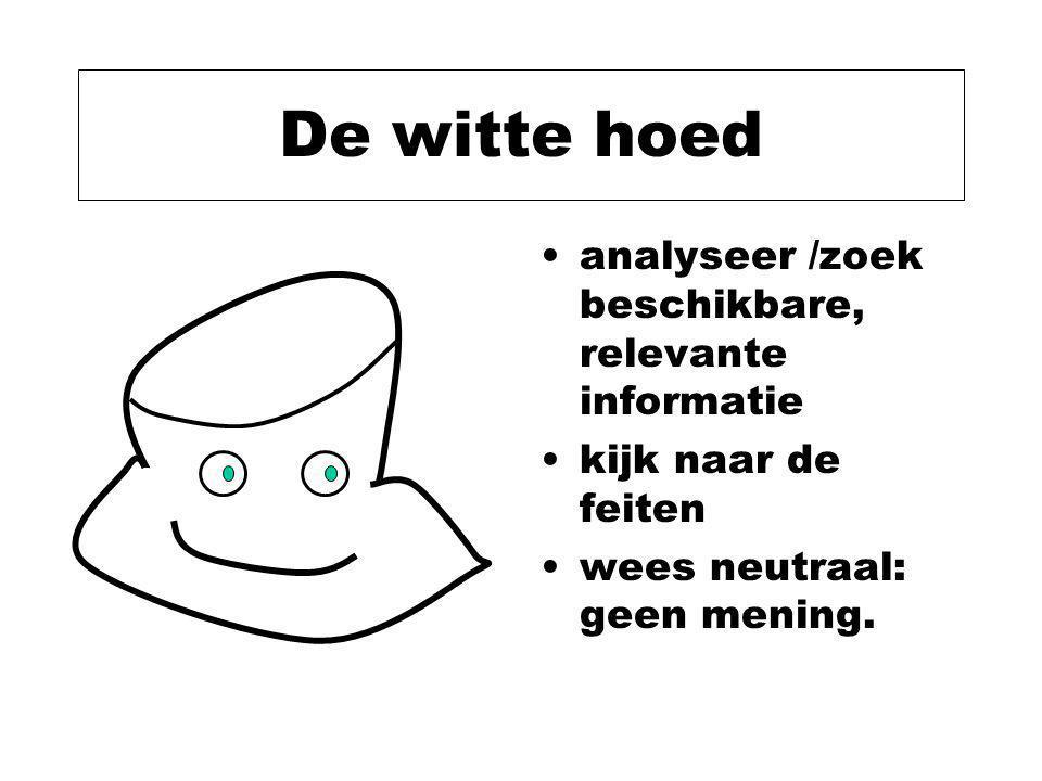 De witte hoed analyseer /zoek beschikbare, relevante informatie