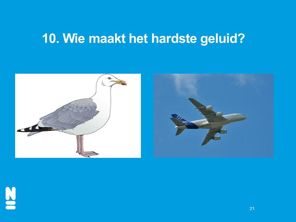 10. Wie maakt het hardste geluid