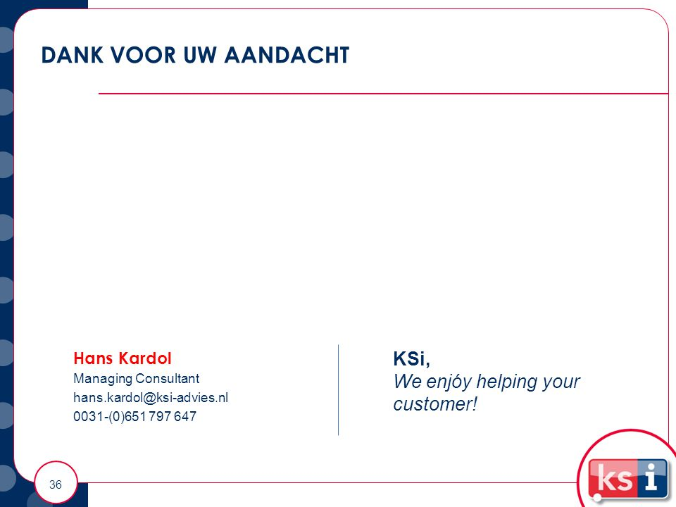 DANK VOOR UW AANDACHT KSi, We enjóy helping your customer! Hans Kardol