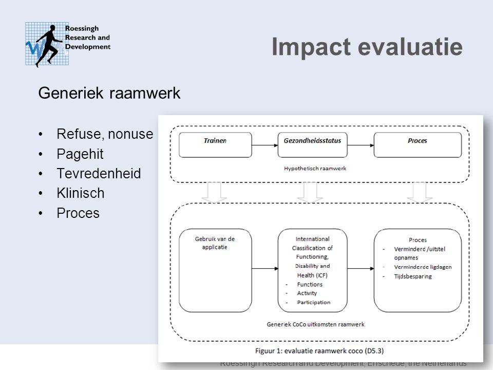 Impact evaluatie Generiek raamwerk Refuse, nonuse Pagehit Tevredenheid