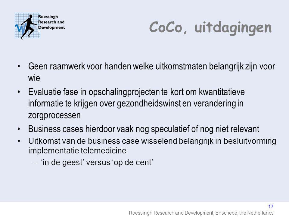 CoCo, uitdagingen Geen raamwerk voor handen welke uitkomstmaten belangrijk zijn voor wie.