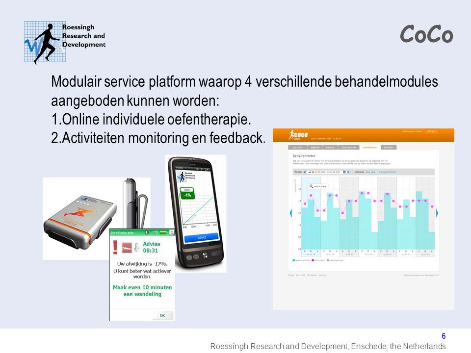 CoCo Modulair service platform waarop 4 verschillende behandelmodules aangeboden kunnen worden: 1.Online individuele oefentherapie.