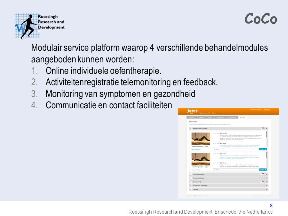 CoCo Modulair service platform waarop 4 verschillende behandelmodules aangeboden kunnen worden: Online individuele oefentherapie.