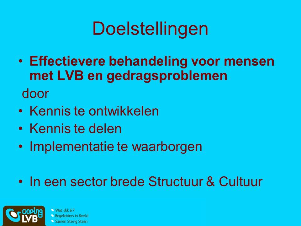 Doelstellingen Effectievere behandeling voor mensen met LVB en gedragsproblemen. door. Kennis te ontwikkelen.