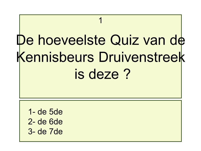De hoeveelste Quiz van de Kennisbeurs Druivenstreek is deze