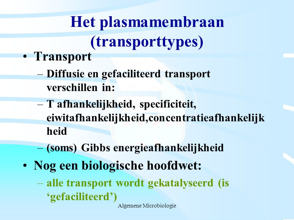 Het plasmamembraan (transporttypes)