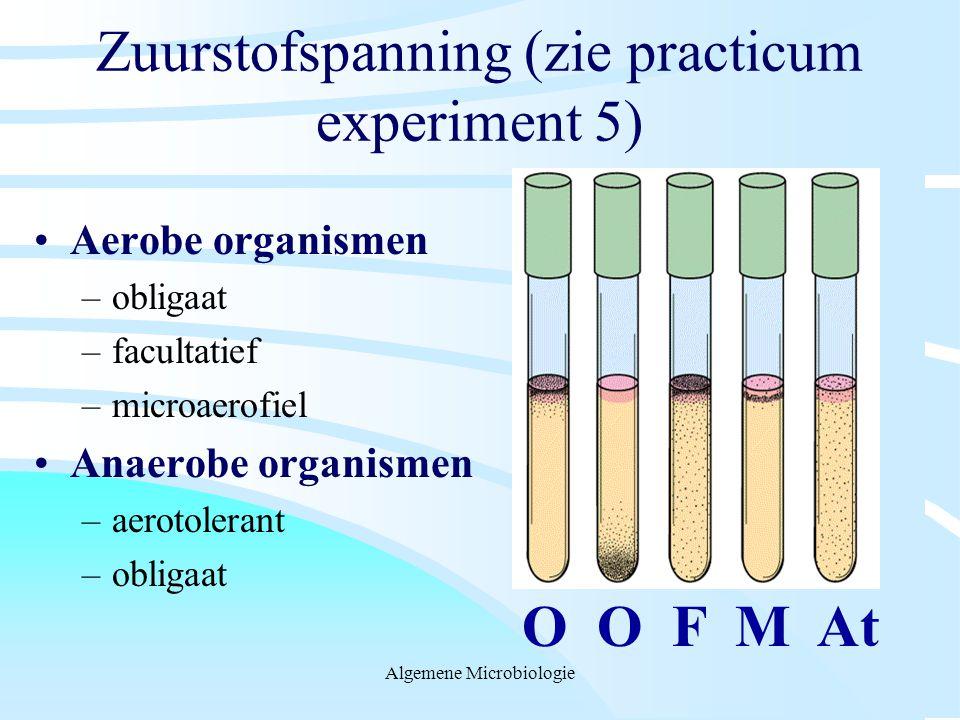 Zuurstofspanning (zie practicum experiment 5)