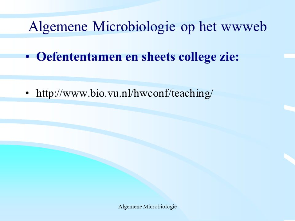 Algemene Microbiologie op het wwweb