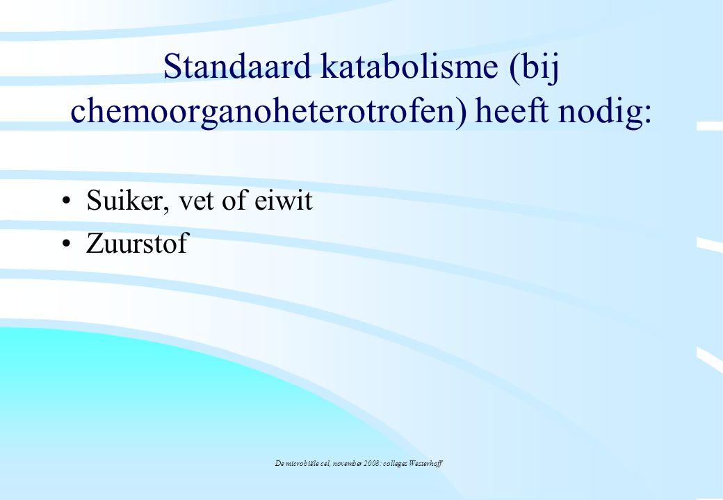 Standaard katabolisme (bij chemoorganoheterotrofen) heeft nodig: