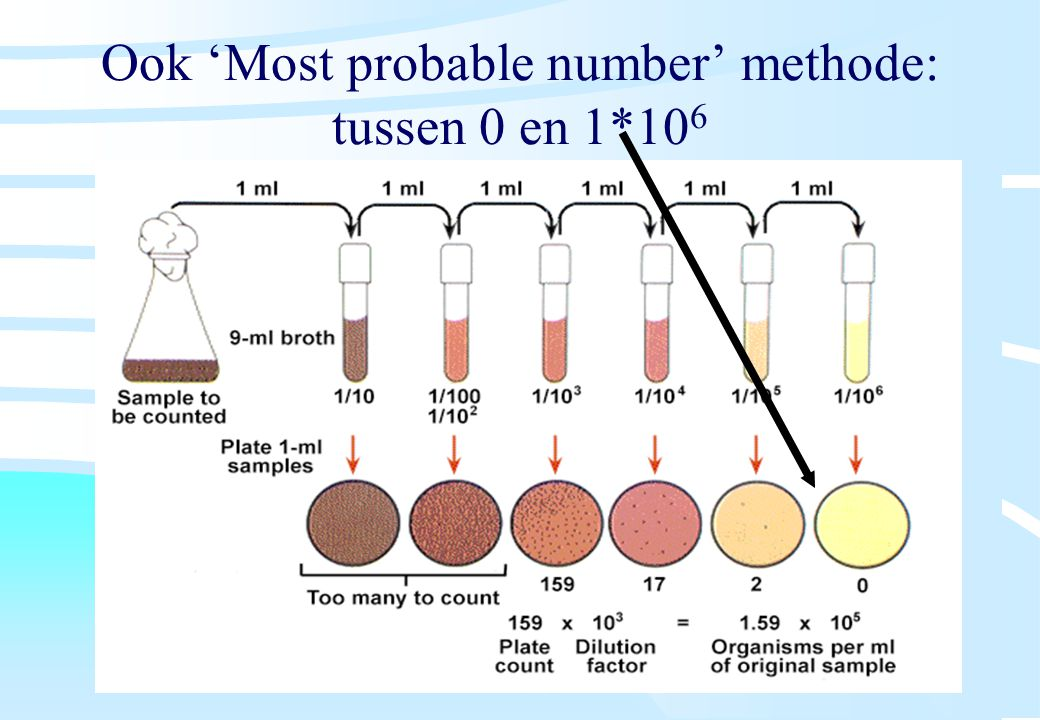Ook 'Most probable number' methode: tussen 0 en 1*106