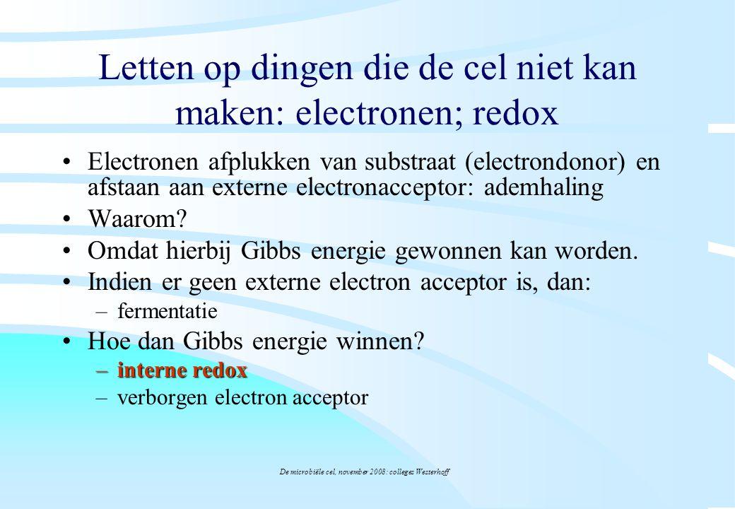 Letten op dingen die de cel niet kan maken: electronen; redox
