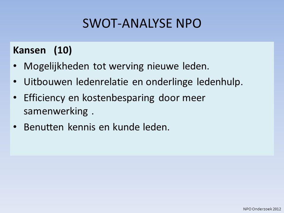 SWOT-ANALYSE NPO Kansen (10) Mogelijkheden tot werving nieuwe leden.