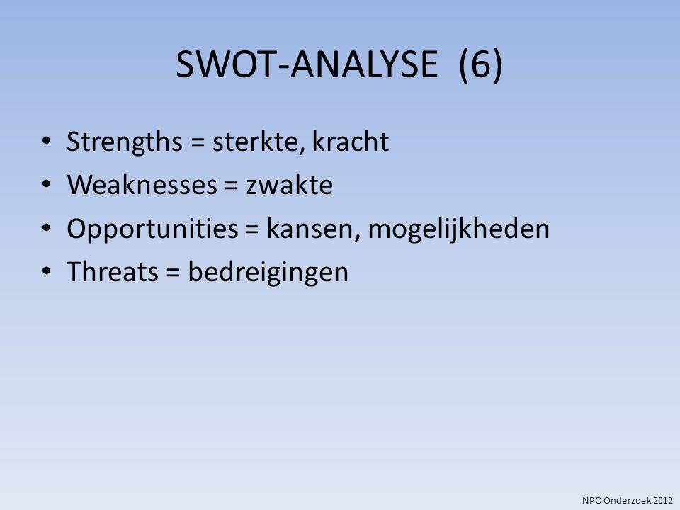 SWOT-ANALYSE (6) Strengths = sterkte, kracht Weaknesses = zwakte