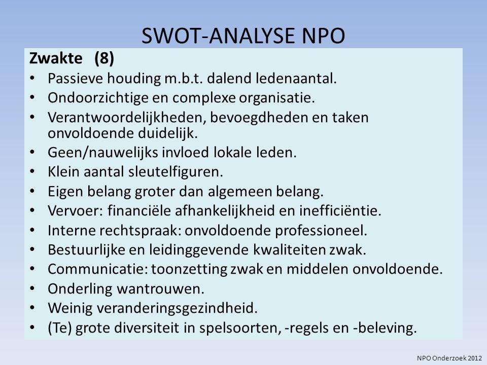 SWOT-ANALYSE NPO Zwakte (8)