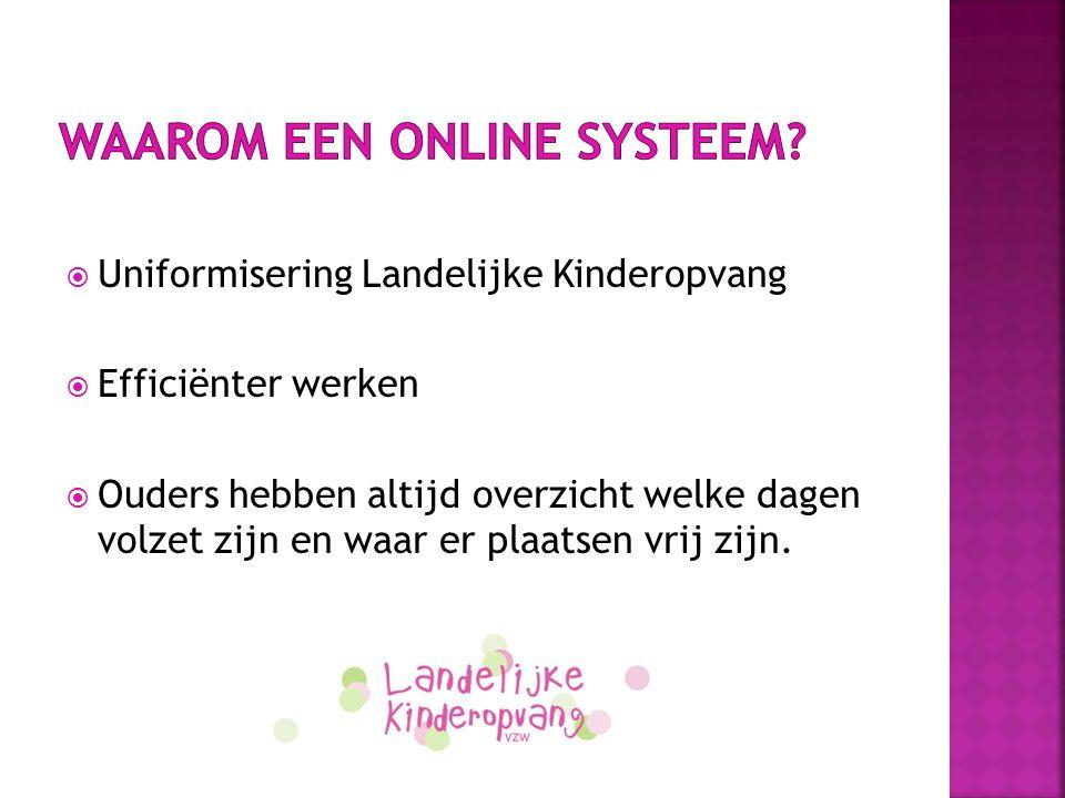 Waarom een online systeem