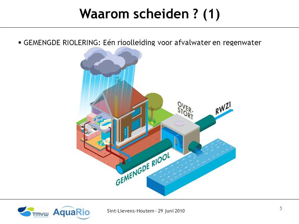Waarom scheiden (1) GEMENGDE RIOLERING: Eén rioolleiding voor afvalwater en regenwater