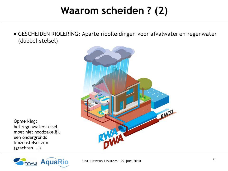 Waarom scheiden (2) GESCHEIDEN RIOLERING: Aparte rioolleidingen voor afvalwater en regenwater (dubbel stelsel)