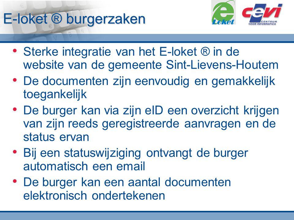 E-loket ® burgerzaken Sterke integratie van het E-loket ® in de website van de gemeente Sint-Lievens-Houtem.