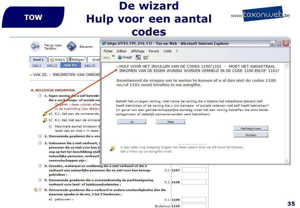 De wizard Hulp voor een aantal codes
