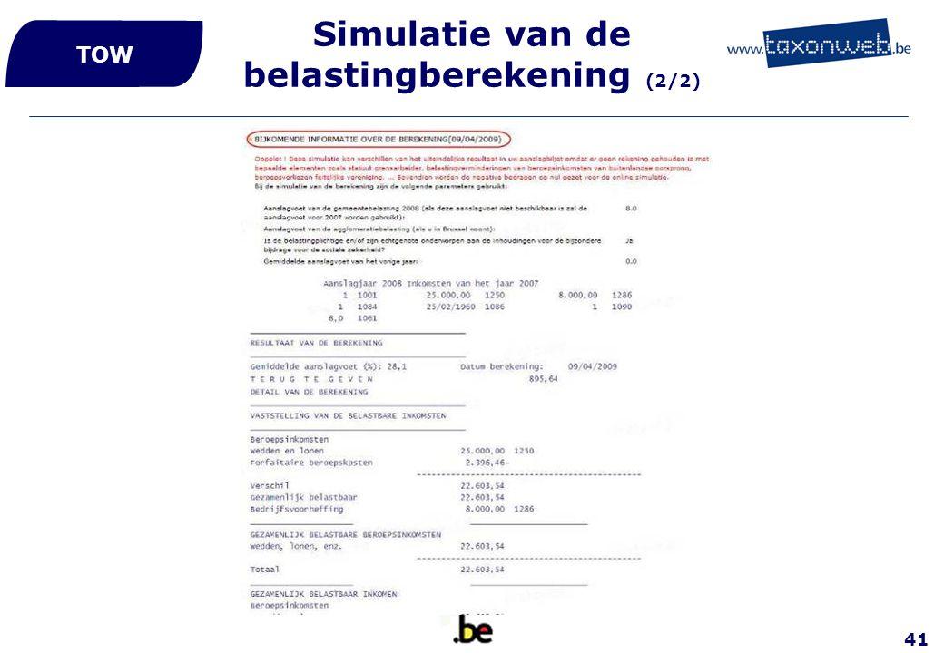Simulatie van de belastingberekening (2/2)