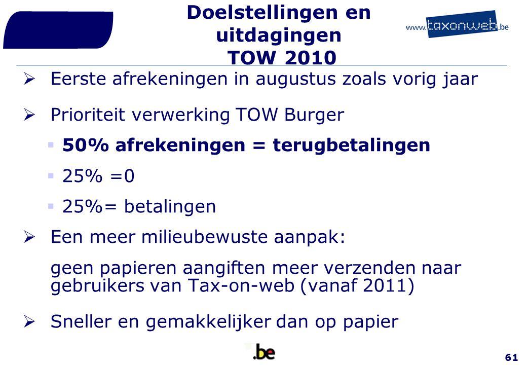 Doelstellingen en uitdagingen TOW 2010