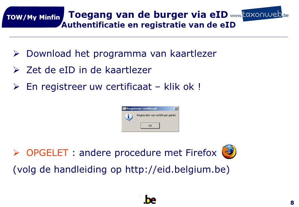 Download het programma van kaartlezer Zet de eID in de kaartlezer