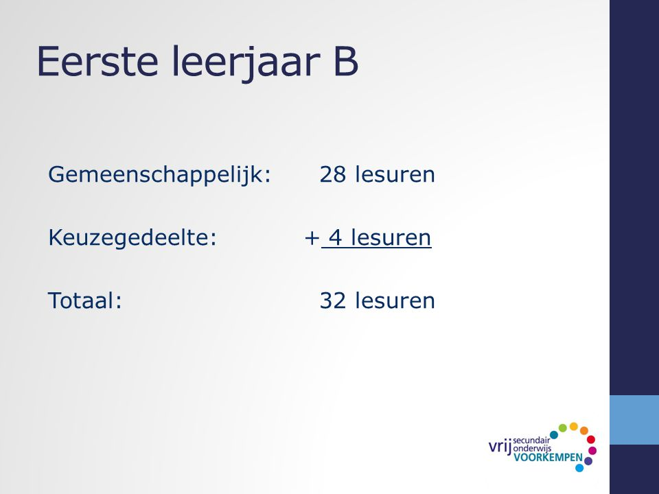Eerste leerjaar B Gemeenschappelijk: 28 lesuren Keuzegedeelte: + 4 lesuren Totaal: 32 lesuren