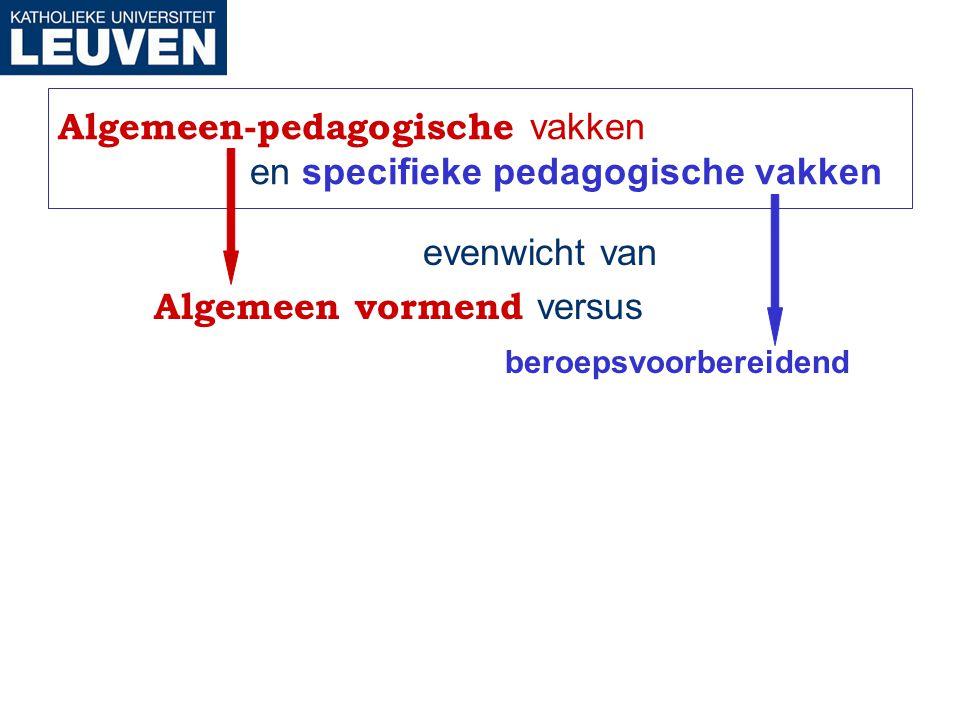 Algemeen-pedagogische vakken en specifieke pedagogische vakken