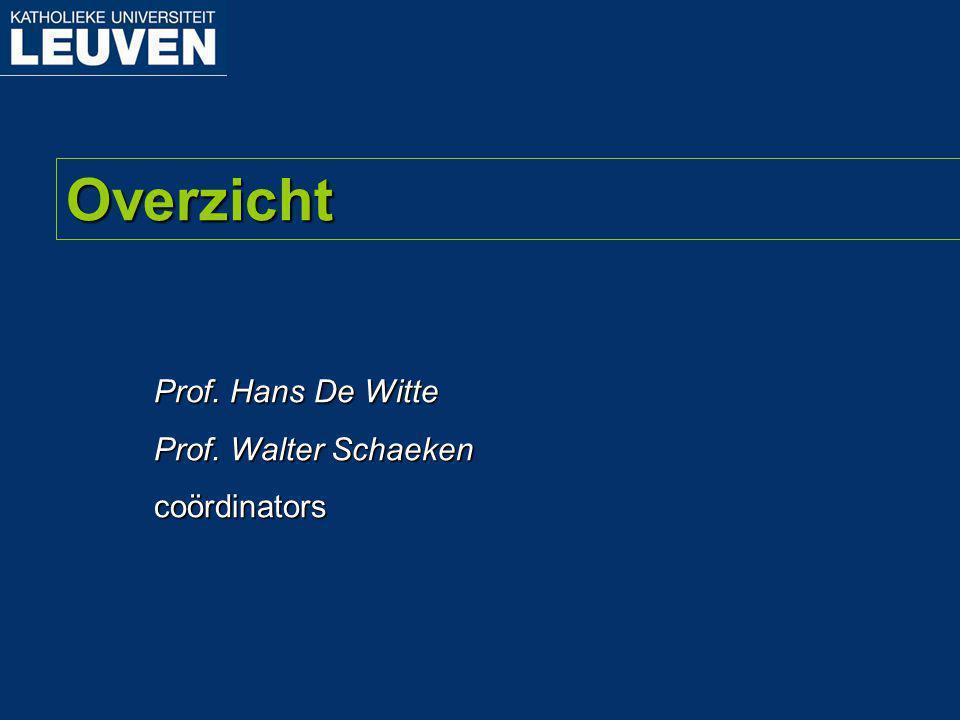 Overzicht Prof. Hans De Witte Prof. Walter Schaeken coördinators