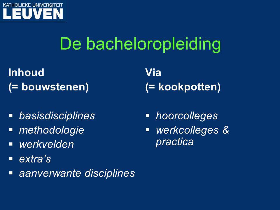 De bacheloropleiding Inhoud (= bouwstenen) basisdisciplines