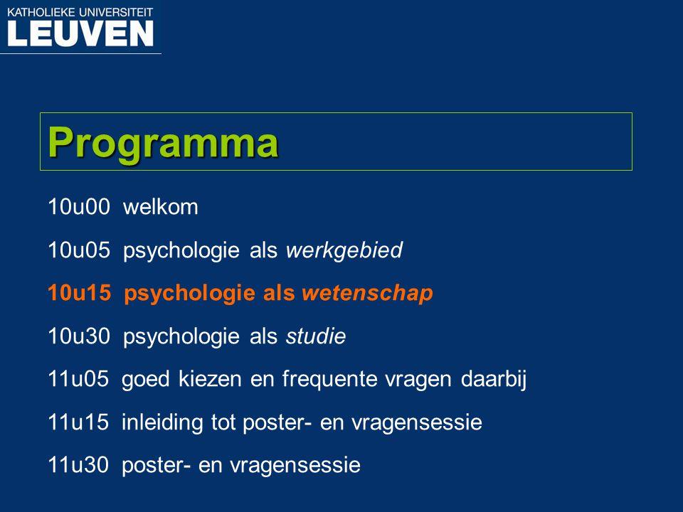Programma 10u00 welkom 10u05 psychologie als werkgebied