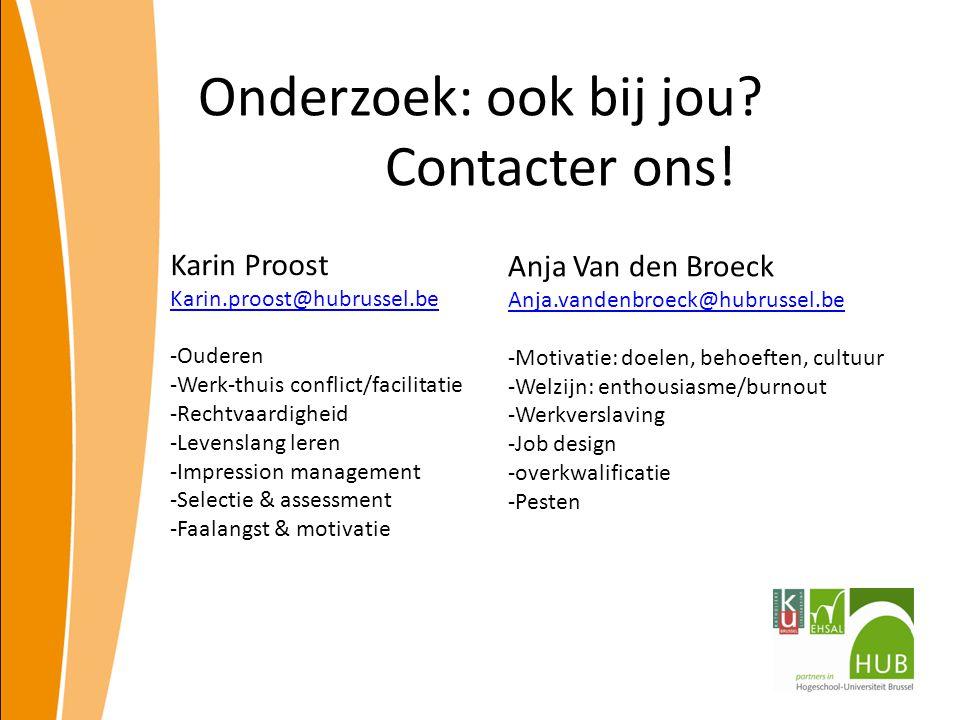 Onderzoek: ook bij jou Contacter ons!