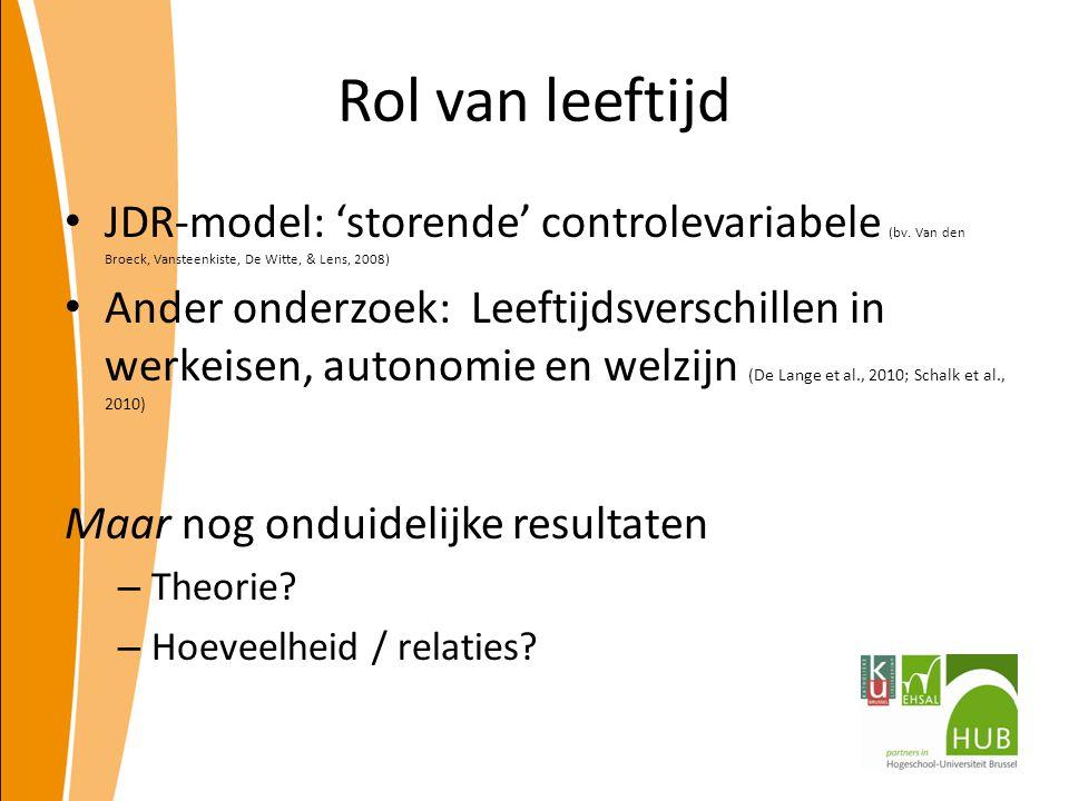 Rol van leeftijd JDR-model: 'storende' controlevariabele (bv. Van den Broeck, Vansteenkiste, De Witte, & Lens, 2008)