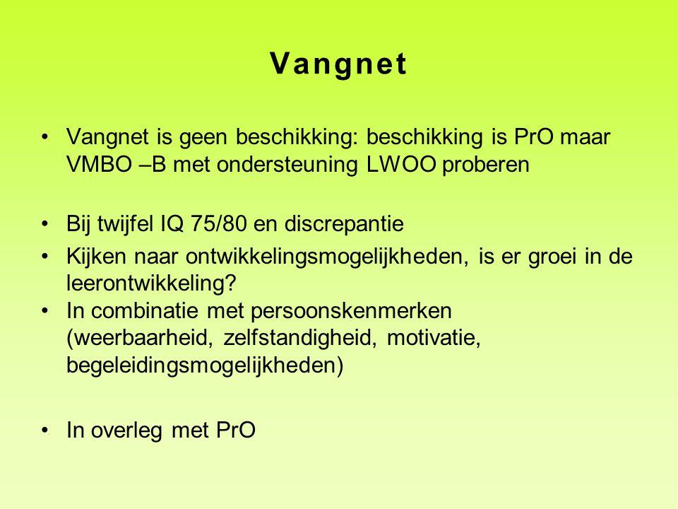 Vangnet Vangnet is geen beschikking: beschikking is PrO maar VMBO –B met ondersteuning LWOO proberen.
