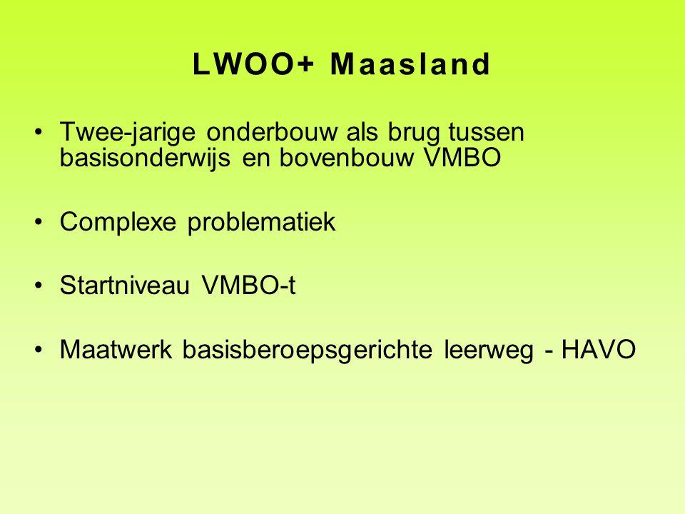 LWOO+ Maasland Twee-jarige onderbouw als brug tussen basisonderwijs en bovenbouw VMBO. Complexe problematiek.