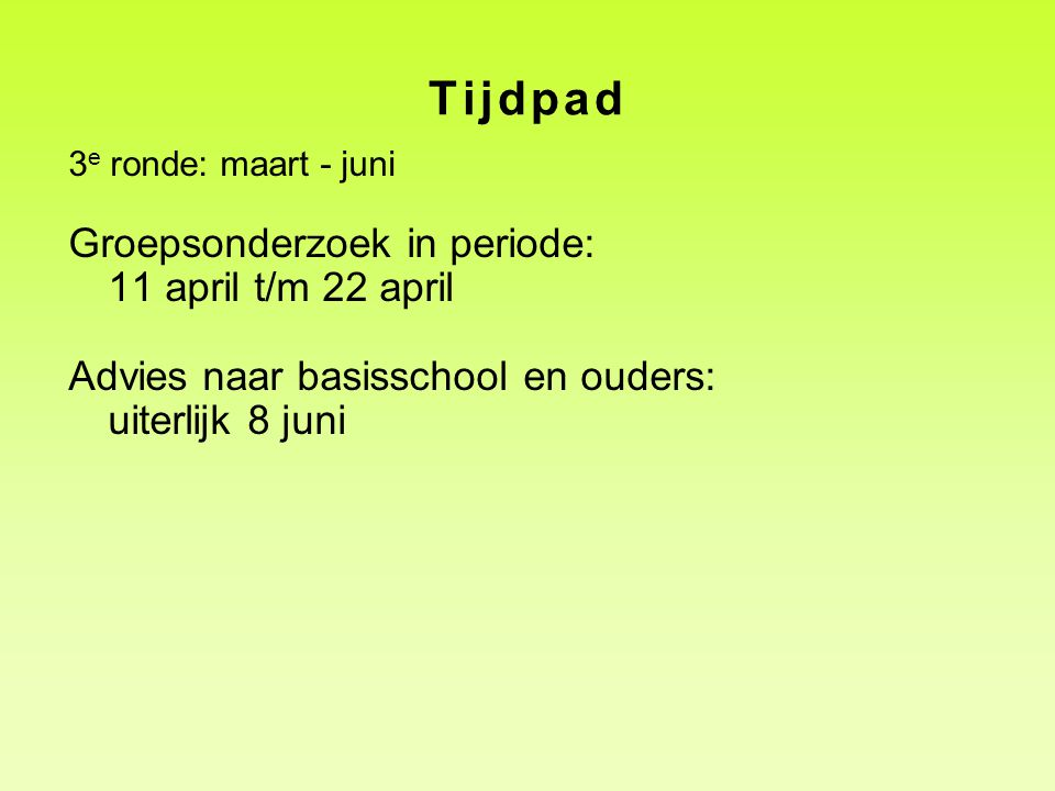 Tijdpad Groepsonderzoek in periode: 11 april t/m 22 april